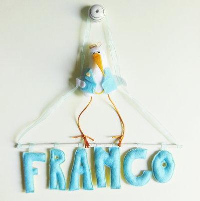 Fiocco nascita con lettere di stoffa imbottite: la targa per la cameretta che puoi personalizzare a tuo gusto!