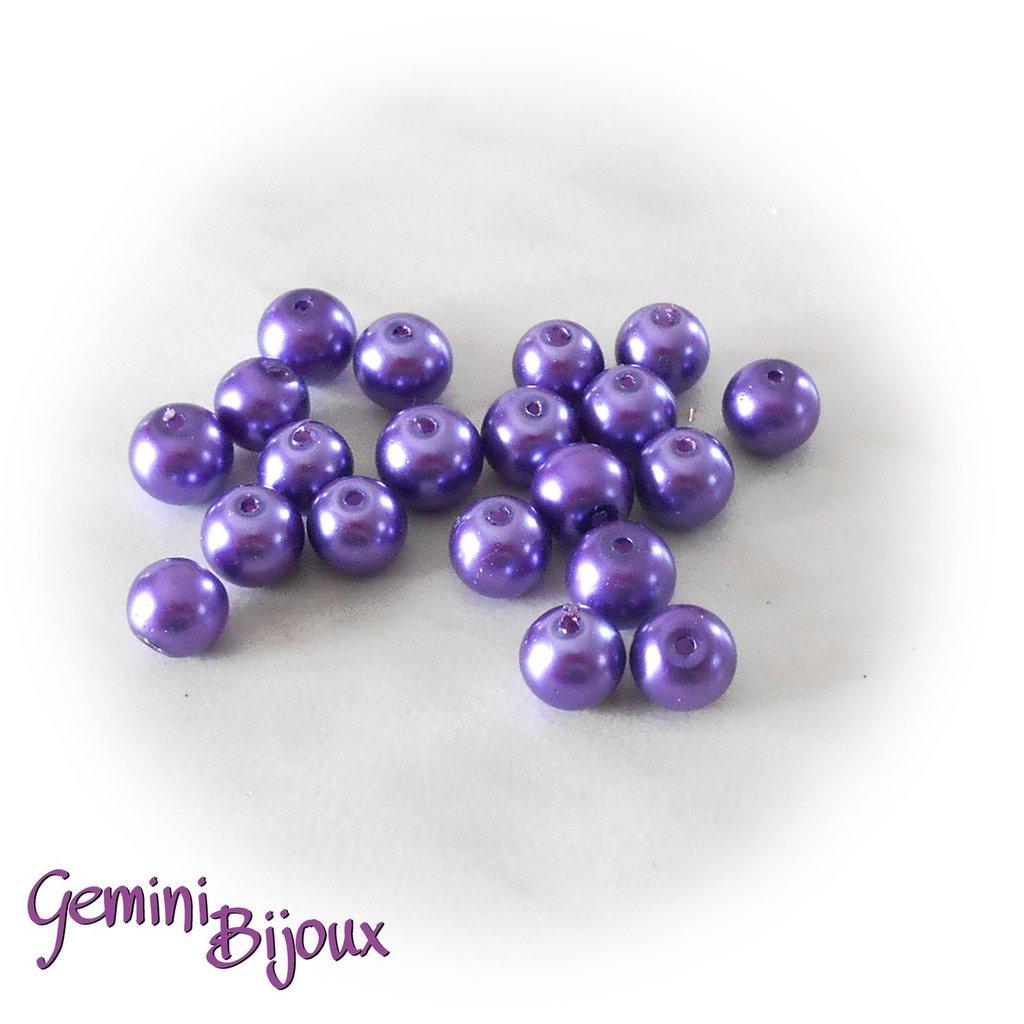 Lotto 20 perle tonde in vetro cerato 8mm viola purple