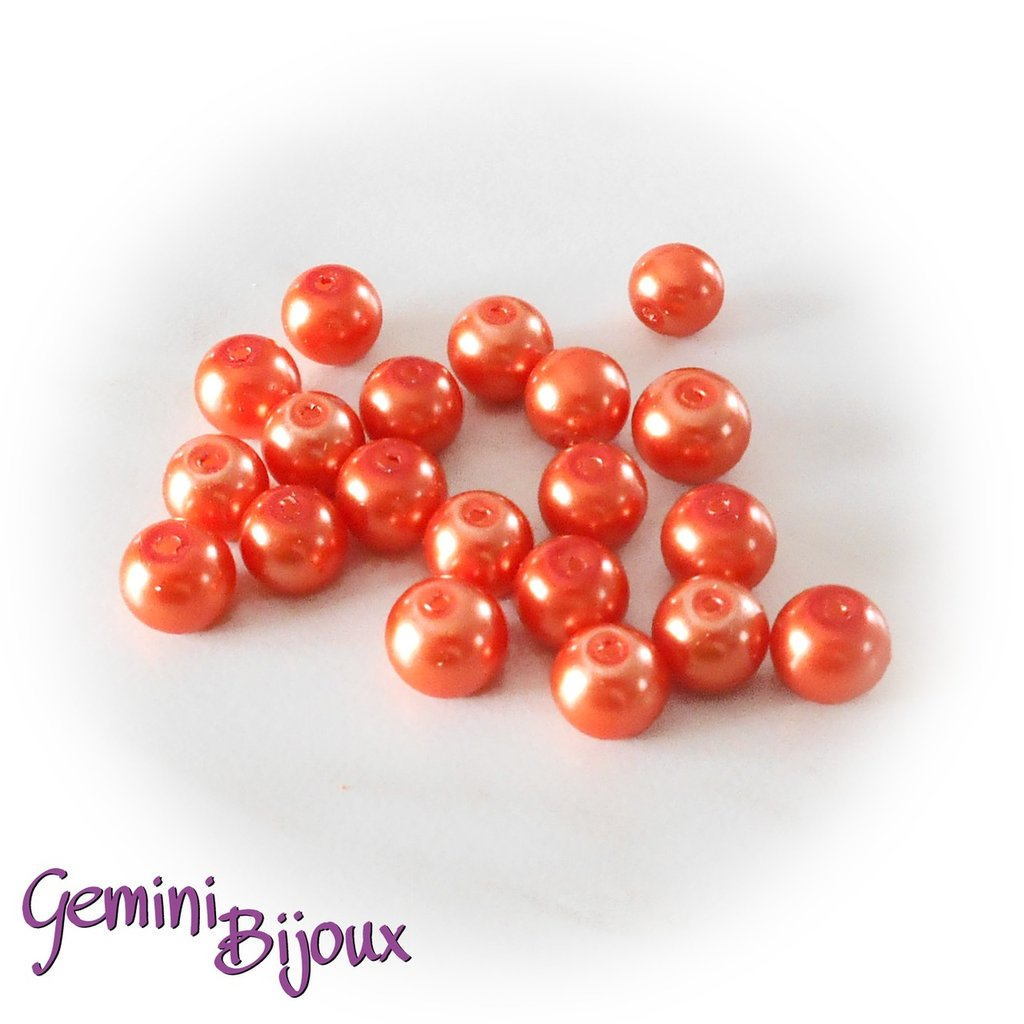 Lotto 20 perle tonde in vetro cerato 8mm arancio