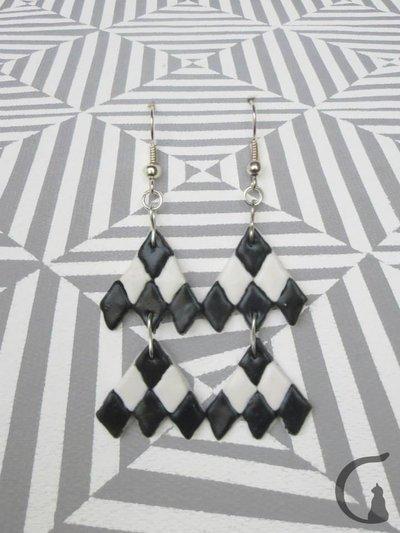 Orecchini pendenti realizzati a mano in pasta fimo - Serie rombi