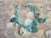 Bracciale con catena in seta e ciondoli in fimo interamente realizzati a mano- Candyland