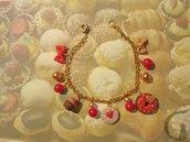 Bracciale con ciondoli realizzati interamente a mano in pasta fimo - Candyland
