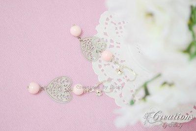 Orecchini con cuore perla rosa cipria