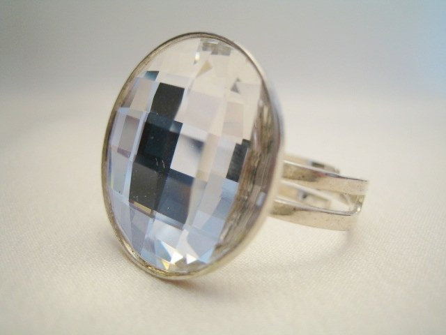 """Bottone Crystal"" - Anello in cristallo Swarovski ed argento 925"
