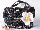 Borsa in fettuccia fatta a mano all'uncnetto, Crochet hand made