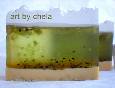 Jabón tarta de Kiwi ::: Glicerina con avena y fruta
