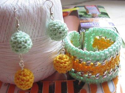orecchini e braccialetto uncinetto