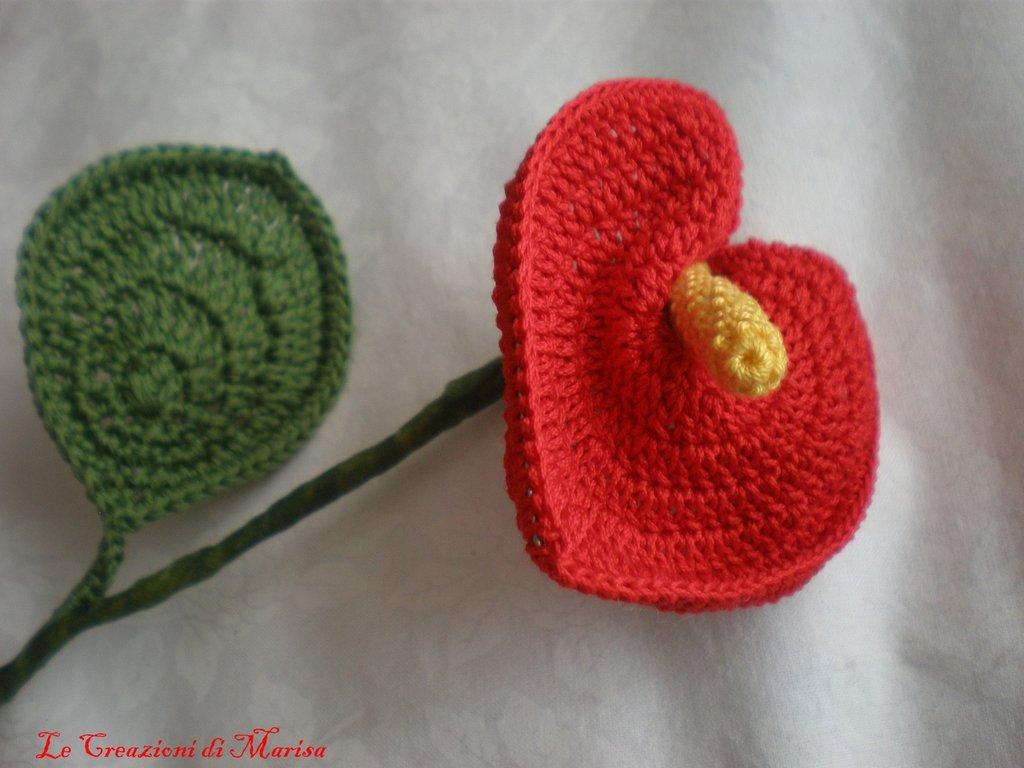 Fiore Anthurium ad uncinetto