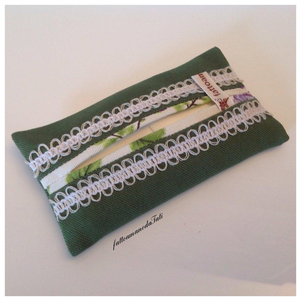 Portafazzoletti da borsa in cotone verde