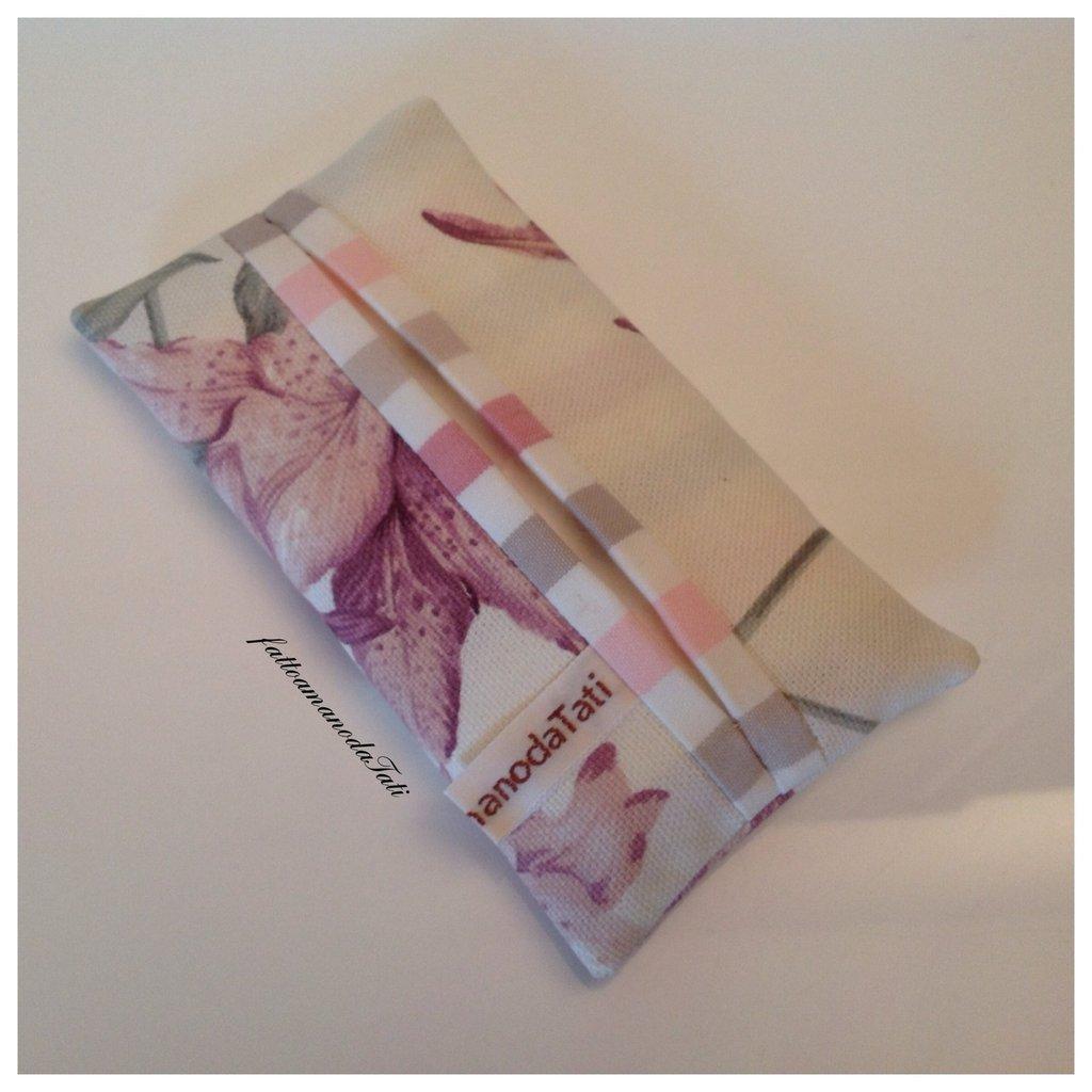 Portafazzoletti da borsa in cotone rosa/beige