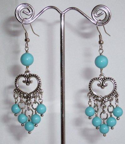Orecchini Stile Etnico Perle Turchesi