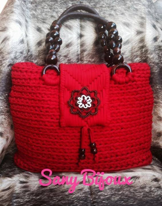 Borsa in fettuccia all'uncinetto con patella - Mod. Scarlett