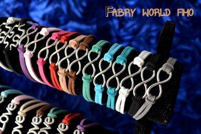 bracciale infinito con fili di alcantara