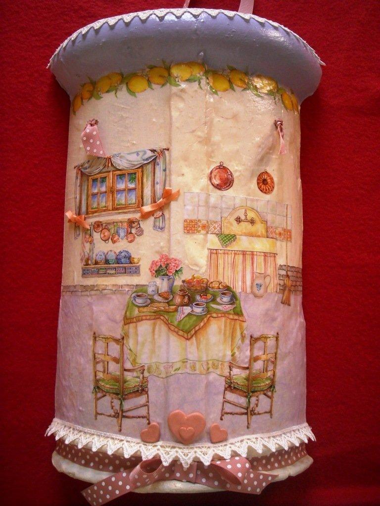 Tegola romantica: Regalo originale, decorato a mano con colori acrilici e Tecnica Decoupage