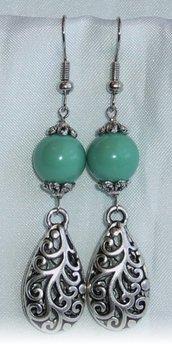 Orecchini Stile Etnico Perle Verdi Giada