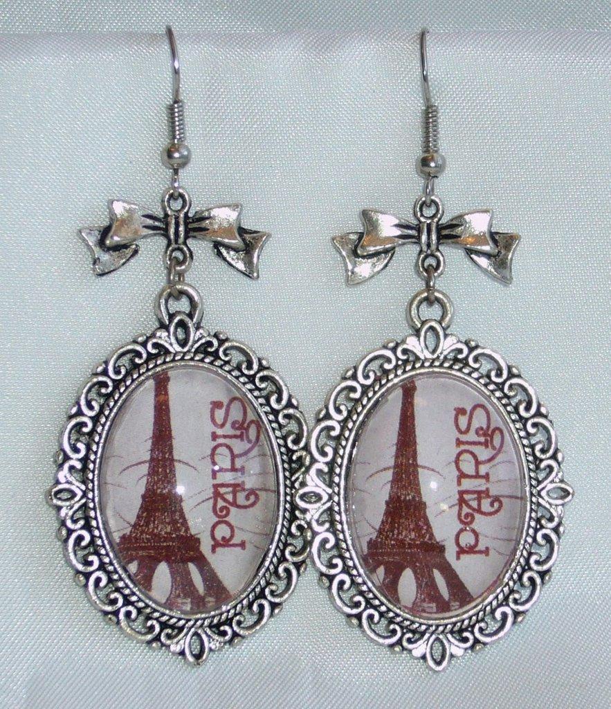 Orecchini Cammeo I Love Paris, Tour Eiffel