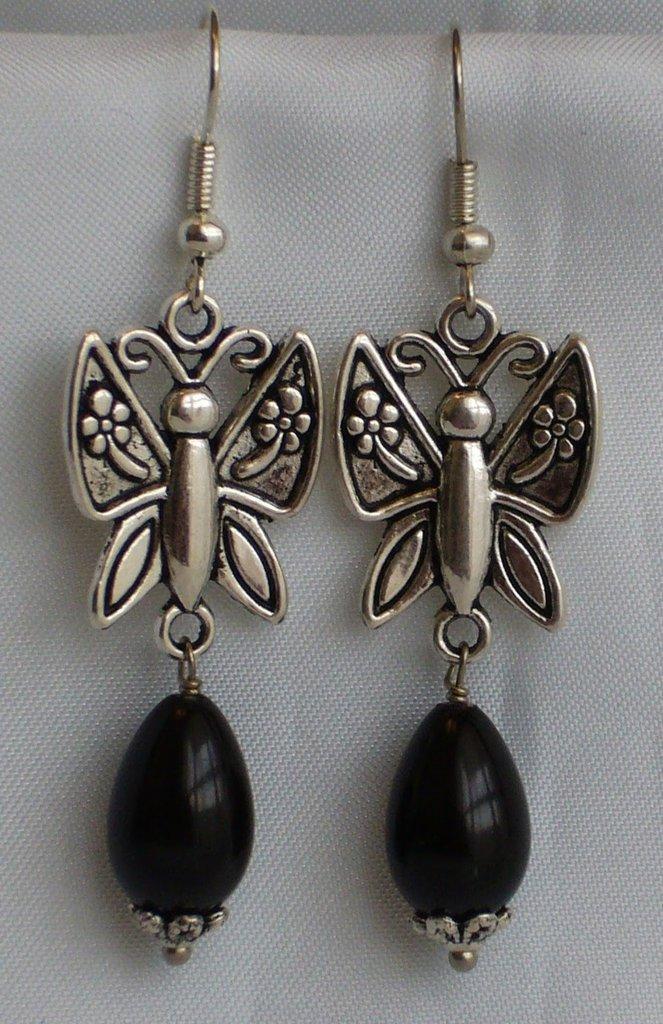 Orecchini Farfalla e Gocce Nere