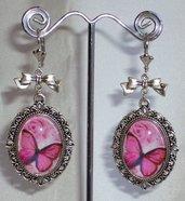 Orecchini Farfalla Rosa, Cammeo in Vetro