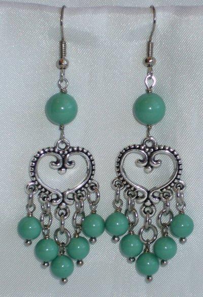 Orecchini Stile Etnico Perle Verde Giada