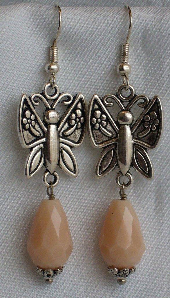 Orecchini Farfalla e Gocce Rosa