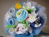 Baby bouquet - mazzolino di benvenuto con calzini, bavaglini e body
