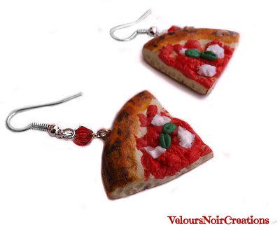 orecchini fette di pizza margherita in fimo