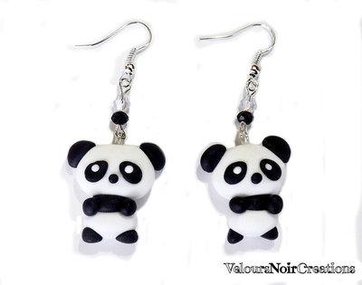 orecchini panda kawaii in fimo