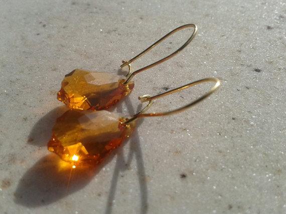 Orecchini Swarovski Gold Topaz Oro e Monachella Color Oro, Pendenti Swarovski Oro
