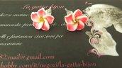 Orecchini a forma di fiore in fimo con cristallo swarovski idea regalo Natale per lei