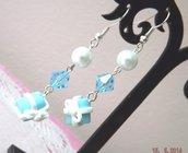 Orecchini perle,scatoline,pacchettino regalo azzurri e bianchi