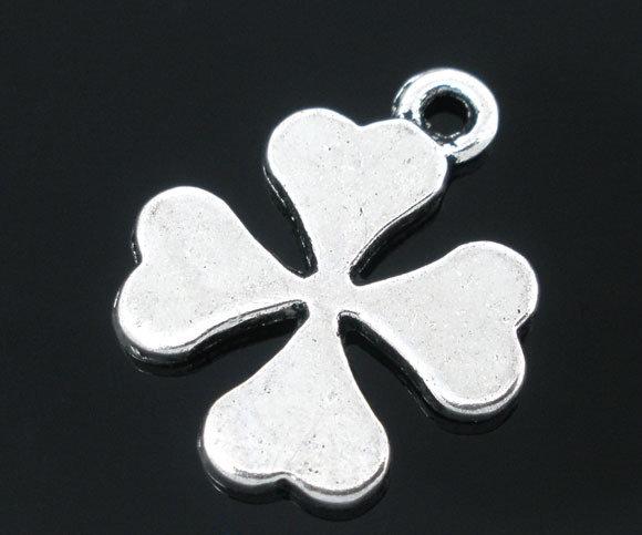 7x Charm pendente ciondolo quadrifoglio argento antico