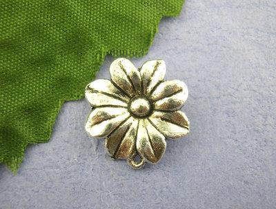 4x Connettore fiore argento antico