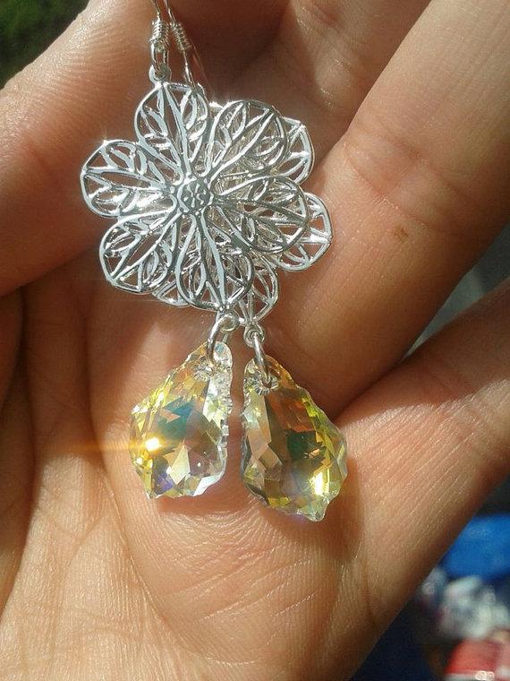 Orecchini Swarovski,fatti a mano,filigrana silver,pendenti Swarovski,silver,pendenti silver,pendenti
