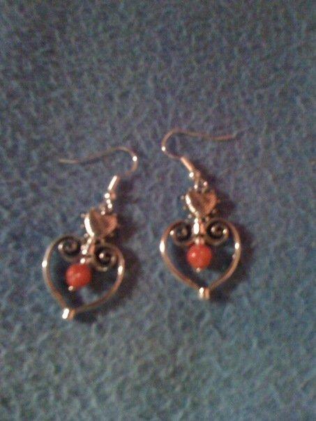 orecchini cuore e corallo
