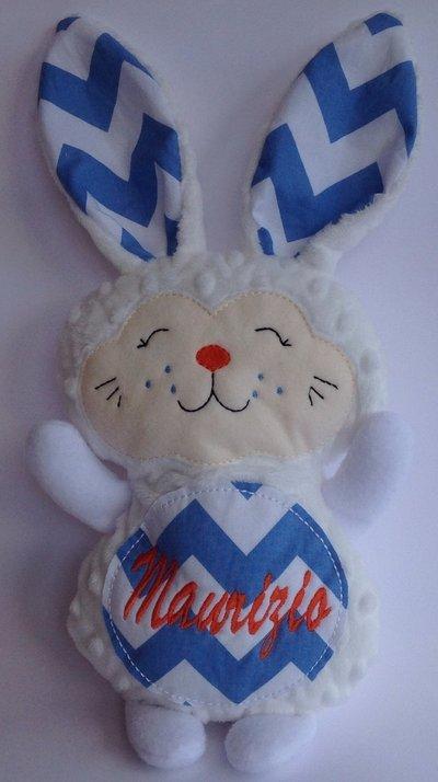 Coniglietto personalizzato - peluche pupazzo coniglio bianco e blu