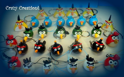 Ciondoli Angry birds in fimo e cernit