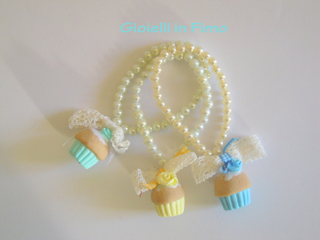 bracciale cupcake con perle