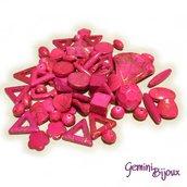 Lotto 20 perle acriliche fuxia mix di forme