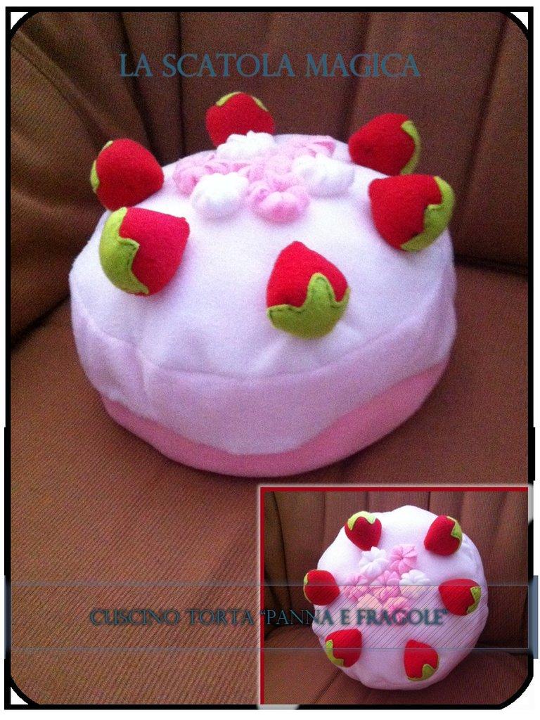 Cuscino Torta panna e fragole