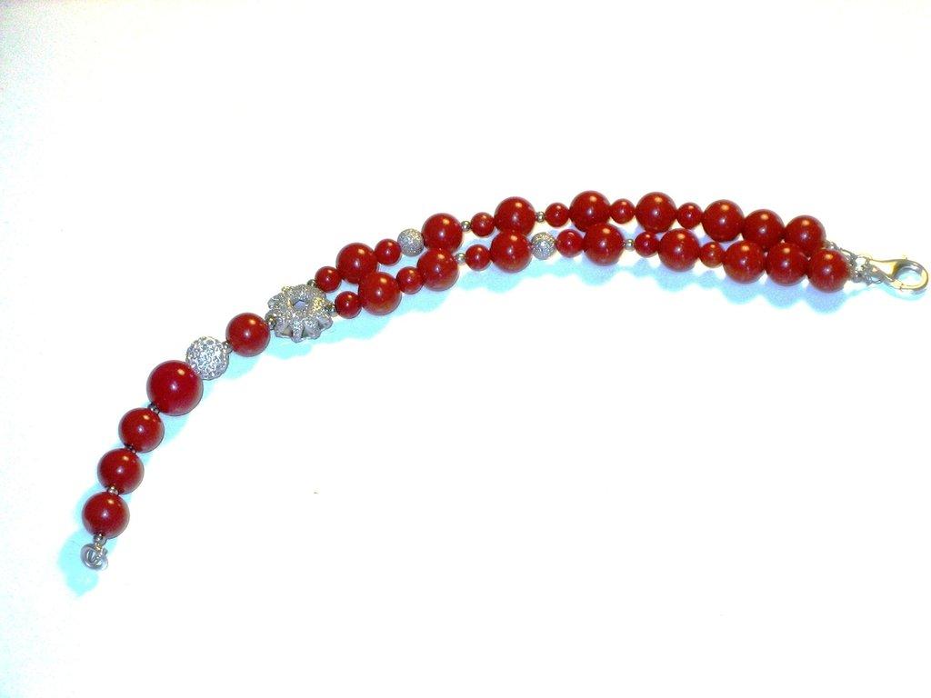 bracciale in argento 925 e corallo naturale rosso.