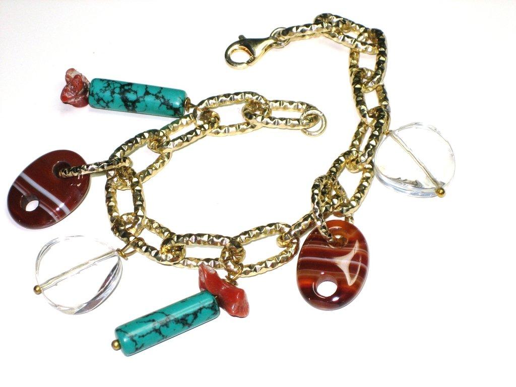 bracciale in ottone e argento con charms multicolor
