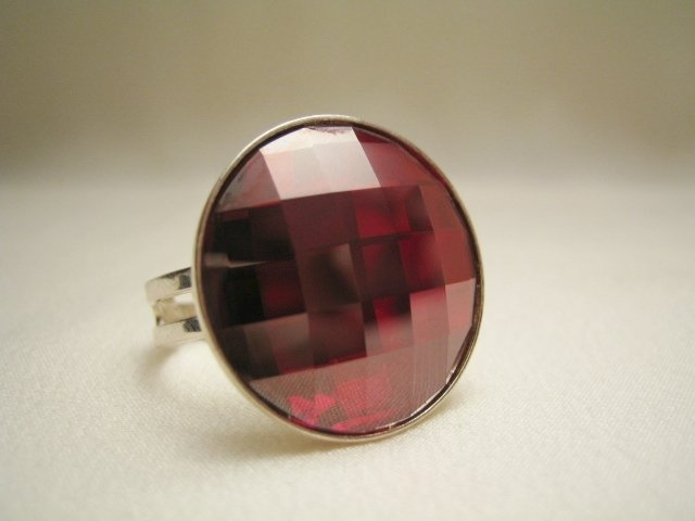 """Bottone Red Magma"" - Anello in cristallo Swarovski ed argento 925"