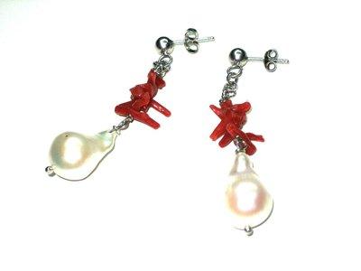 orecchini in argento, corallo e perle