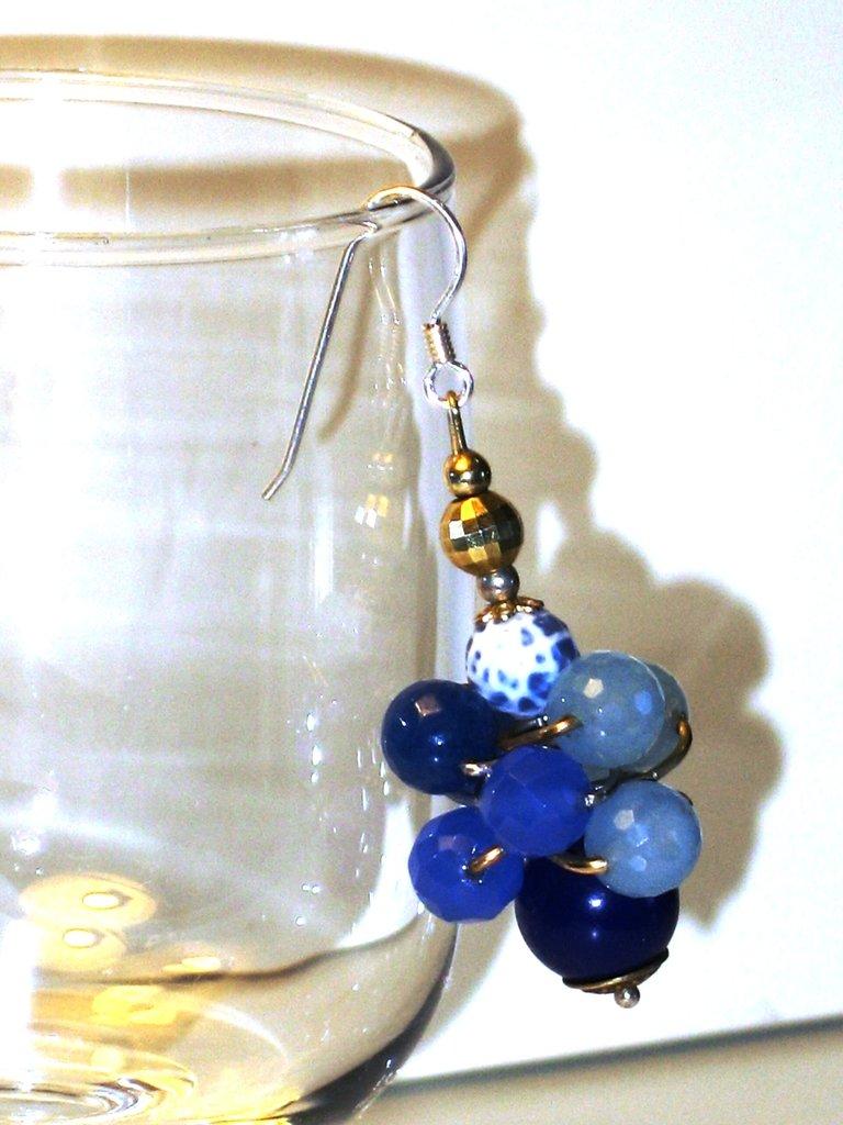 orecchini in argento e agata blu, grappolo