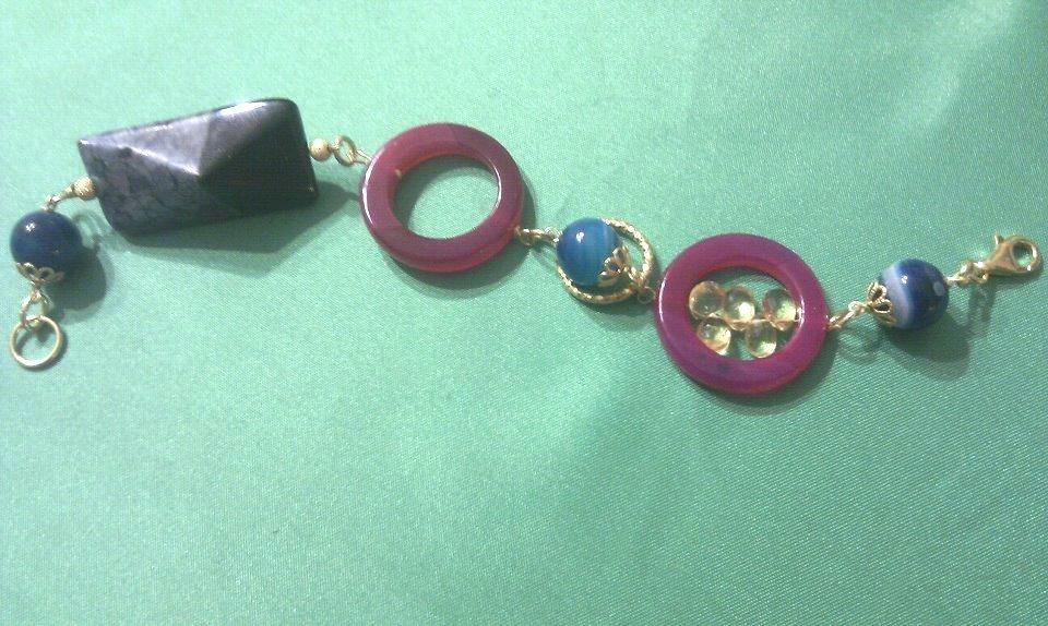 bracciale colorato con argento, agata, quarzi