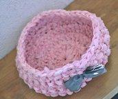 cestino crochet rosa