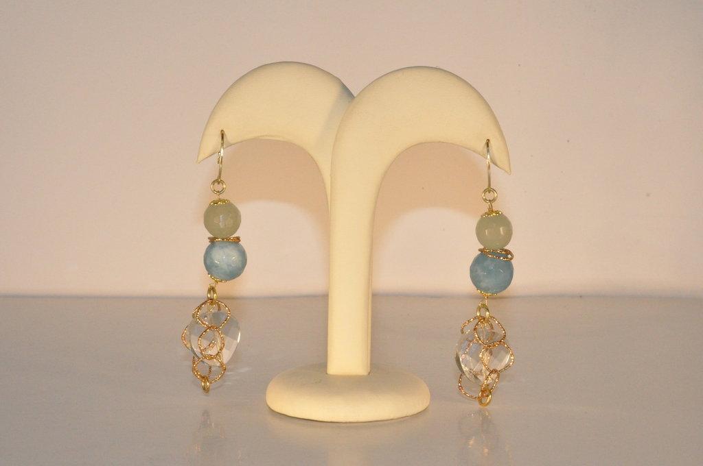 orecchini lunghi in argento e pietre