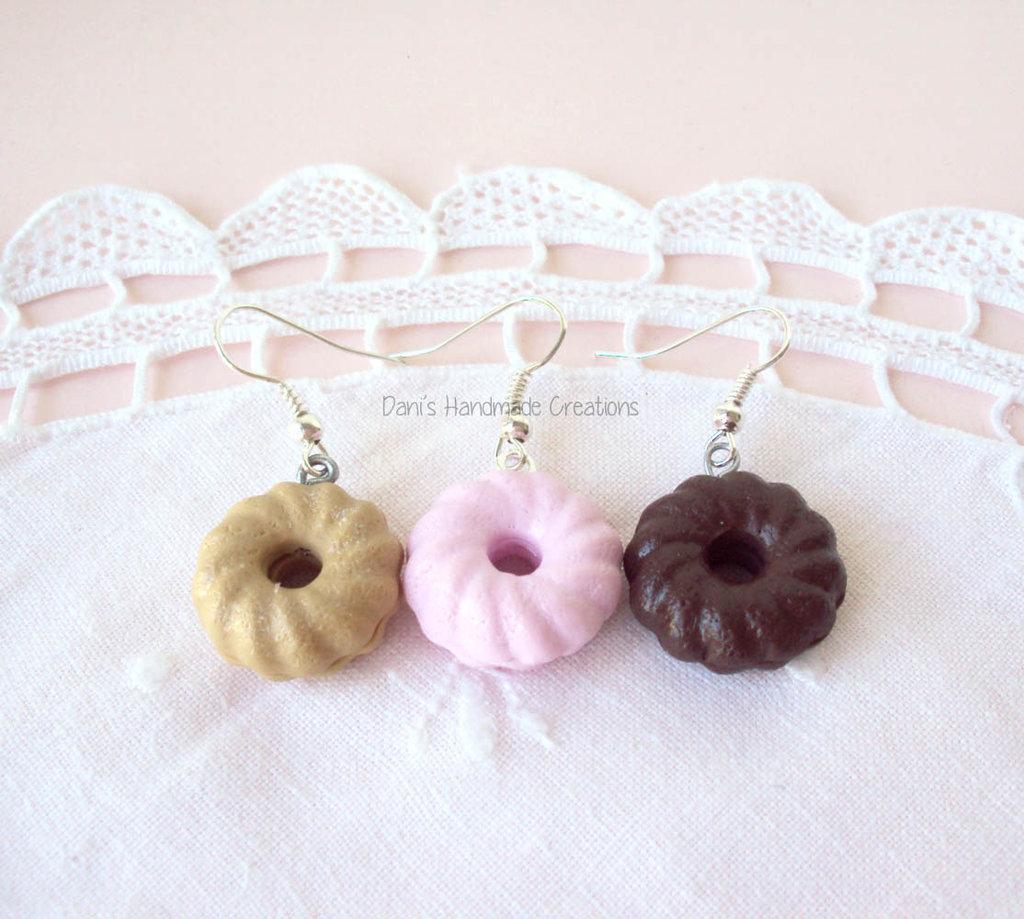 orecchini con ciambelle in fimo