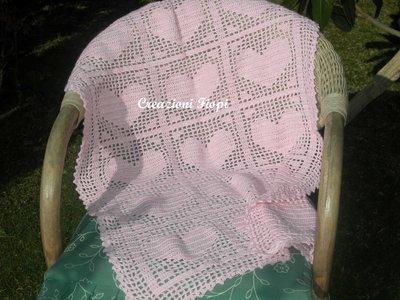 Pattern Copertina Neonato Rosa A Filet Uncinetto Cuoripattern S
