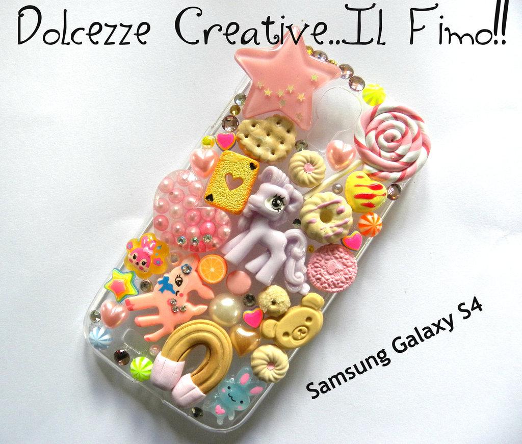 Cover Samsung S4 Pony, caramelle, cute, kawaii, candy, bunny, coniglio,cuori stelle leccalecca, miniature idea regalo